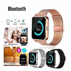 Aoile Bluetooth Smart Watch GSM Sim Phone Mate Z60 Stainless Steel For Ios Android Gold
