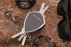 Key Axis Compact Organizer Keychain Smart Holder Clip Ring Carbon Fiber & Stainless Steel Pocket Keys Chain Rack Lightweight Durable Carabiner Bar Bottle Opener