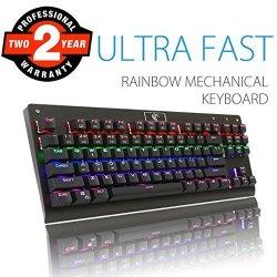 Aitalk Rainbow Mechanical Keyboard Tenkeyless 87 Keys Anti Ghosting Waterproof Gaming Keyboard With Diy Blue Switches Customizab R1440 00