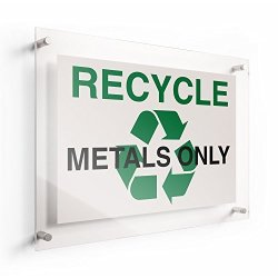 """Lichtworks Recycle Acrylic Sign Metals Only 10"""" X 7"""