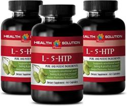 USA Stress Relief Supplement For Women - L-5-HTP - Supports Emotional Well Being & Positive Mood - 5-HTP For Depression With Anxiety - 3 Bottles 180 Caps