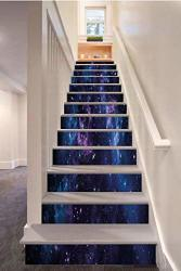 Sosung Space Decor 3D Stair Riser Stickers Removable Wall Murals Stickers Mystical Sky With Star Clusters Cosmos Nebula Celestial Scenery Artwork For Home Decor
