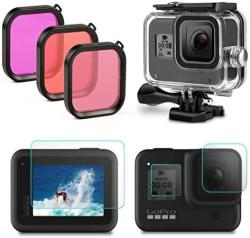 Fstop Labs Housing Case Filter Kit For Gopro Hero 8 Black Waterproof Case Diving Protective Housing Case + 3 Pack Filter + 4 Pac