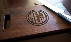 Engraved Personalized Wooden Cutting Board With Circle Monogram Choose From Walnut Maple Or Cherry