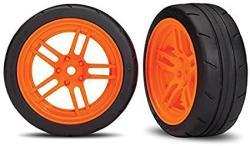 "USA Traxxas 8373A Assembled Orange Split-spoke Wheels With 1.9"" Response Tires Front"
