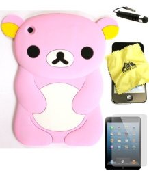 BUKIT CELL Baby Pink Bear 3D Cartoon Soft Silicone Skin Case Cover For Apple Ipad MINI 16GB 32GB 64GB Wifi And 4G LTE