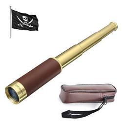 Pirate Waterproof Monocular 25X30 Zoomable Vintage Adjustable Telescopic Monocular Optics Handheld Telescope Brass Spyglass