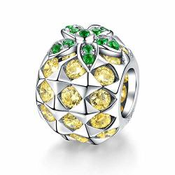 8be6b3fac Forever Queen Fit Pandora Charm Forever Queen Pineapple Charm Fit Pandora  Charm Bracelet 925 Sterling Silver Sparkly Tropical Fruit Charm With Yellow  And ...
