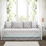 """Lush Decor Elephant Stripe 6 Piece Daybed Cover Bedding Set Includes Bed Skirt Pillow Shams And Cases 75"""" X 39"""" Turquoise And Pi"""