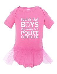 WATCH Out My Dads A Police Officer Baby Ballerina Tutu Funny Bodysuit Pink 12-18 Month