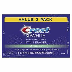 Crest 3D White Stain Eraser Whitening Toothpaste Fresh Mint 2 Count