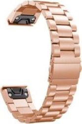 Stainless Steel Link Band For Garmin Fenix 3 5X Rose Gold