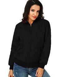 Women Kidsform Short Biker Jacket Coat Bomber Zip Pocket Casual Classic Quilted Outdoor Hoodies Black XL