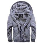 Asali Men's Pullover Winter Jackets Hooed Fleece Hoodies Wool Warm Thick Coats Gray M