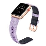 Secbolt For Apple Watch Band 42MM For Women Canvas Fabric Bands With Genuine Leather Strap Replacement For Iwatch Apple Watch Ni