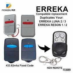 Calvas 5PCS Erreka Luna Erreka Reson Compatible Electric Gates Remote Controls For Command Garage Barrier Fixed Code Key Fod 433.92MHZ