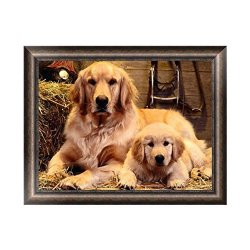 Fairylove 45 35 Diamond Painting Kit Golden Retriever Dog Diamond Bead Painting Kit Diamond Dotz Diamond Embroidery Kit Father And Son