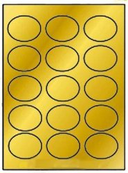 Label Outfitters, Inc. 300 Label Outfitters Oval Gold Metallic Foil Laser Labels 2-1 2 X 1-3 4 Inches 15 Labels Per Sheet