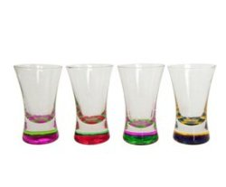 SET OF 4 Shooter Glasses W coloured