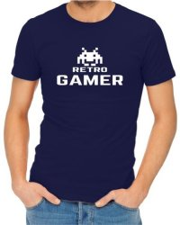 Retro Gamer Mens Navy T-Shirt Small