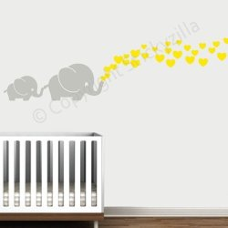 Decal The Walls Cutie Grey Elephants With Colored Bubble Hearts Vinyl Wall Decal Sticker Baby Nursery Play Room Yellow Hearts