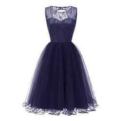 Todaies Women Lace Dress Women Vintage Princess Dress Floral Cocktail V-neck Party Aline Swing Dress L Navy