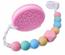 Baby Teething Toys Massaging Tooth Brush For Infant Bpa-free Clip Holder Soft Teething Pain Relief Cookie Silicon Teether