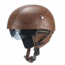Retro Pu Motorcycle Half Helmet Open Face With Visor Motorbike Scooter Cruise Safety - Dark Brown
