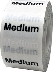 InStockLabels.com Medium Clothing Labels Size Strip Stickers For Retail Apparel 1.25 X 5 Inch 125 Adhesive Stickers