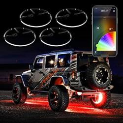 "4PC 15"" Wheel Ring Light Kit Xkchrome App Controlled W turn Signal Function Universal Neon Underglow Accent Light Kit"