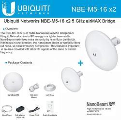 Ubiquiti Networks Ubiquiti NBE-M5-16 2-PACK 5GHZ Nanobeam M5 16DBI Airmax Bridge