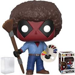 USAB Funko Pop Marvel X-men: Deadpool Playtime - Bob Ross Deadpool Vinyl Figure Bundled With Pop Box Protector Case