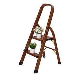 Luisladders 2 Step Ladder Woodgrain Aluminum Lightweight Ladders Folding Step Stool For Home And Kitchen Ladder 330LB