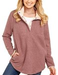 Women's Grapent Casual Long Sleeves Stand Collar Buttons Pockets Fleece Pullover Pink Size XXL Fit Us 20 - Us 22