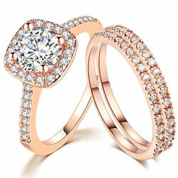 SDT Jewelry Three-in-one Bridal Wedding Engagement Anniversary Statement Eternity Ring Set Rose Gold 6