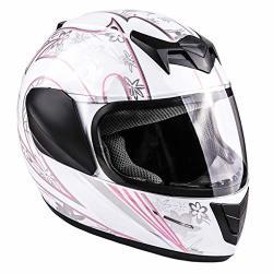 Typhoon Youth Full Face Motorcycle Helmet Kids Dot Street - White Pink Butterfly Medium