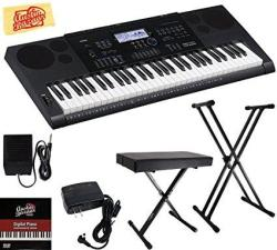 Casio CTK-6200 Portable Keyboard Bundle With Adjustable Stand Bench Sustain Pedal Power Supply Austin Bazaar Instructional DVD A