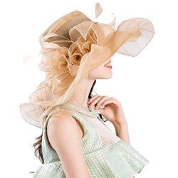 b06c84cf09c56 Women Foldable Organza Church Derby Hat Ruffles Wide Brim Summer Bridal Cap  For Wedding Tea Party Beach Gold-a