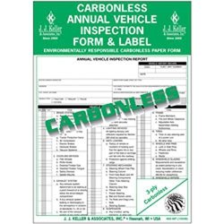 J.J. Keller - Carbonless Annual Vehicle Inspection Report With Label Pack Of 10