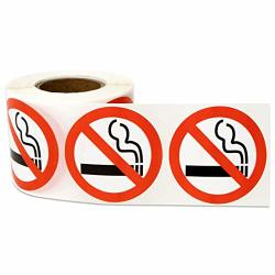 "5 Rolls - No Smoking Labels For No Smoking Warning 1.5"" Round - 1500 Labels"