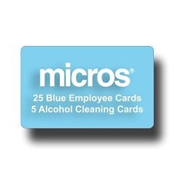 POS-Depot.com 25 Micros Server Swipe Cards - 25 Light Blue Cards + 5 Pre-saturated 100% Alcohol Credit Card Swipe Reader Cleaning Cards.