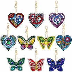 10 Pieces Diamond Painting Keychain Set 5D Diamond Painting Kits Full Drill Heart And Butterfly Shape Diamond Painting Pendant Ornaments For Art Craft Key