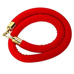 56 Inch Red Barrier Rope Crowd Control Stanchion Queue Velvet Rope W chrome Plated Hook Red W gold Color Plated Hook