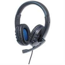 Manhattan USB Gaming Headset With Leds - For PC PS3 & PS4 Retractable Built-in Microphone Audio Control Function Integrated 1.8