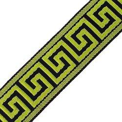 "1 3 8"" 33MM Greek Key Jacquard - Black neon Green Sold By Yds"