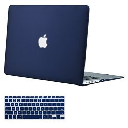 Mosiso Plastic Hard Shell Case & Keyboard Cover Compatible Macbook Air 11 Inch Models: A1370 & A1465 Navy Blue