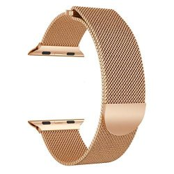 Kanzd Milanese Stainless Steel Magnetic Watch Band For Apple Watch Series 3 38MM Rose Gold