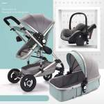 BABY Pram Stroller - 3 Function Foldable Pram With Car Seat- Mint Green