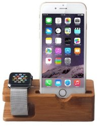 Tuff-Luv Moulded Bamboo Wood Charging Stand For Apple Watch & iPhone 5s 5c 6 6s Brown