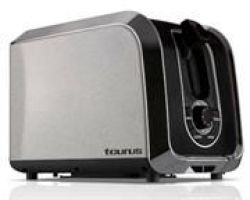 Taurus 2 Slice Toaster - 960200 - 850W - Stainless Steel Body Cancel Defrost Reheat Settings Adjustable Browning Settings Re